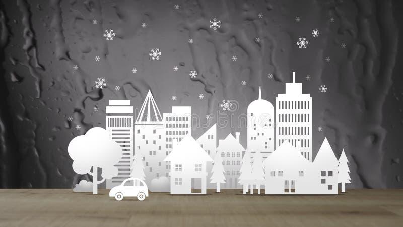 Città di Eco con neve sul fondo dell'acqua dell'estratto di seppia royalty illustrazione gratis