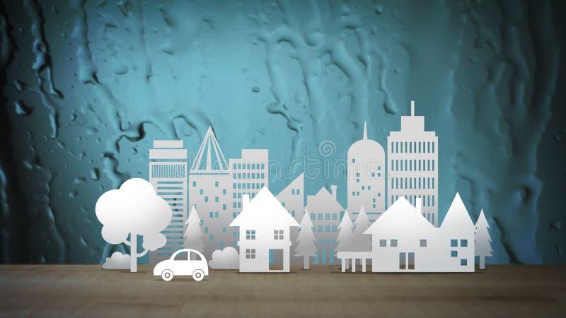Città di Eco sul fondo astratto blu dell'acqua royalty illustrazione gratis