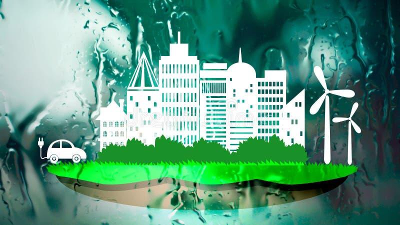 Città di ecologia nel fondo fresco della natura royalty illustrazione gratis
