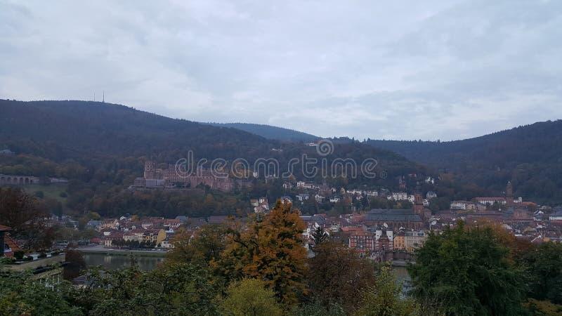 Città di Heidelberg & di x28; Germany& x29; - vista sopra la vecchia città compreso il castello immagine stock libera da diritti
