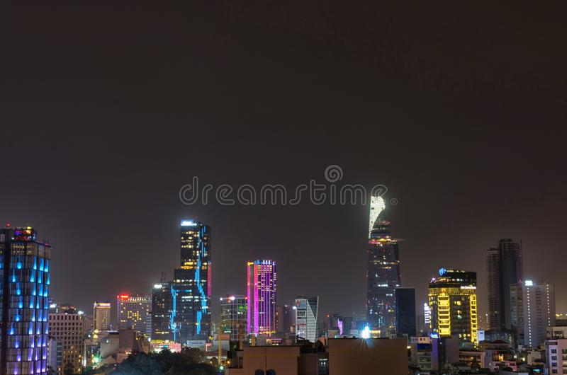 Città di Ho Chi Minh, orizzonte del Vietnam di notte immagine stock libera da diritti