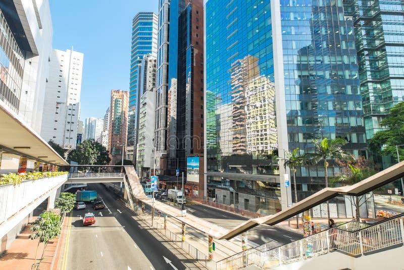 Città di Hong Kong con i grattacieli moderni fotografia stock