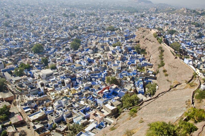 Città di Jodhpur dalla fortificazione di Mehrangarh, Ragiastan, India fotografia stock libera da diritti