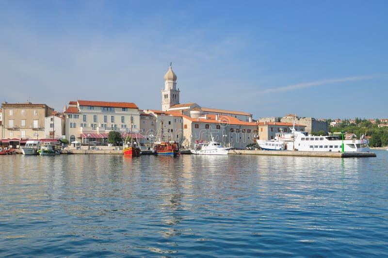 Città di Krk, isola di Krk, mare adriatico, Croazia immagine stock libera da diritti