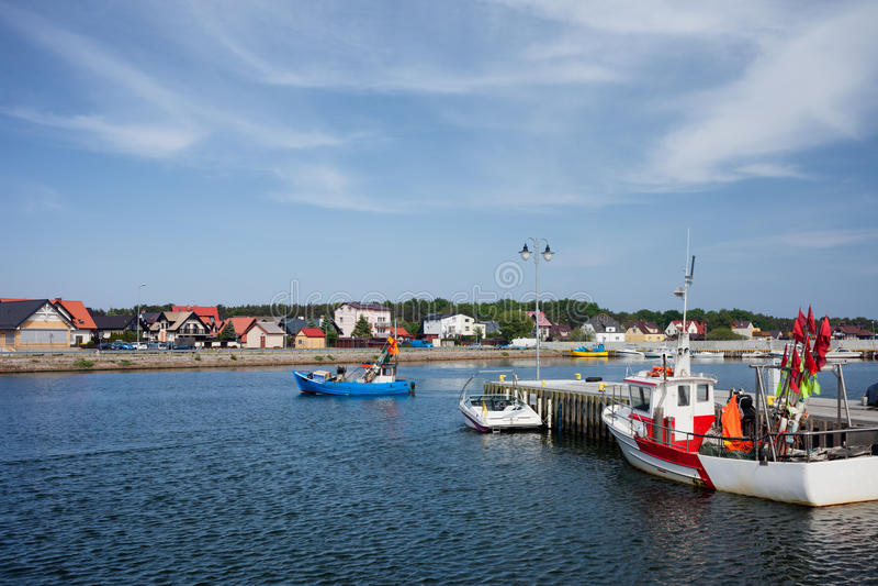 Città di Kuznica sulla penisola dei Hel in Polonia immagine stock libera da diritti