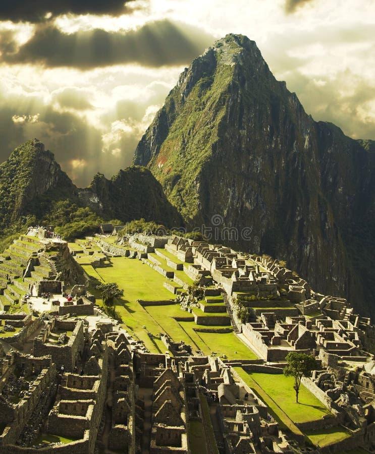 Città di Machu-Picchu nel Perù immagini stock libere da diritti
