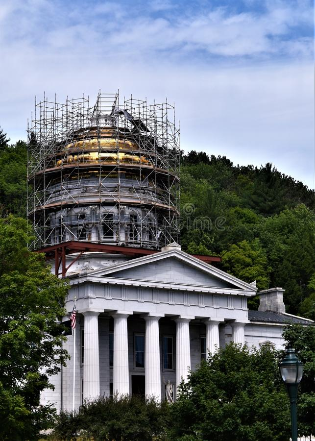 Città di Montpelier, Washington County, Vermont, Stati Uniti, capitale dello Stato immagini stock libere da diritti