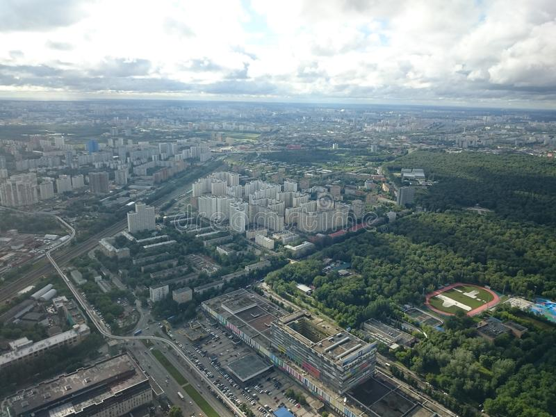 Città di Mosca Vista dalla torre di Ostankino in autunno fotografie stock libere da diritti