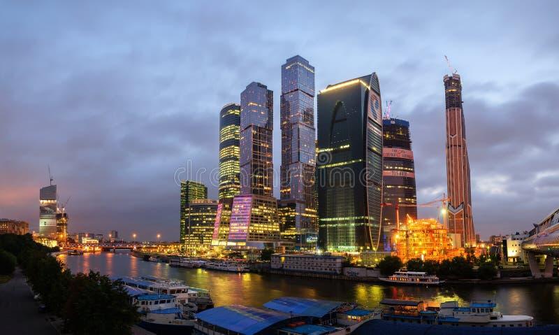 Città di Mosca, vista di notte fotografia stock libera da diritti