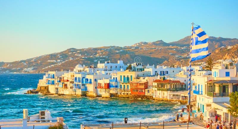 Città di Mykonos con e poco distretto di Venezia fotografia stock libera da diritti