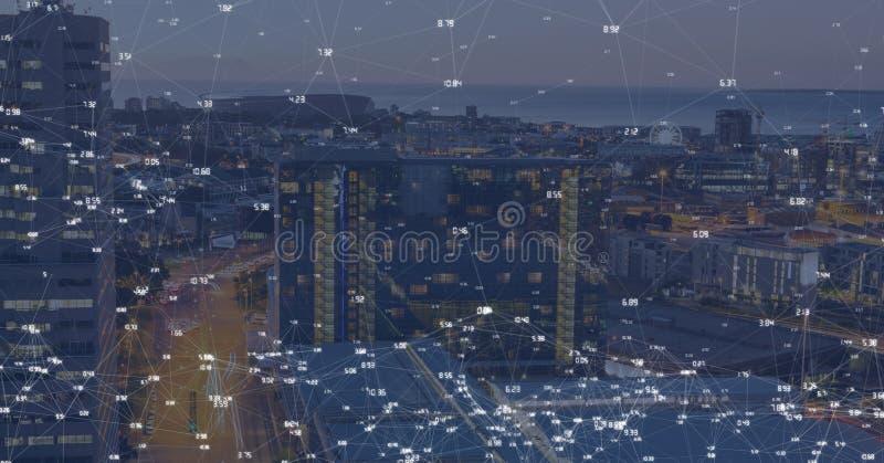 Città di notte con i connettori immagini stock libere da diritti