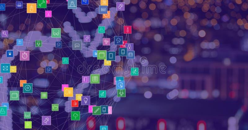 Città di notte con i connettori immagini stock