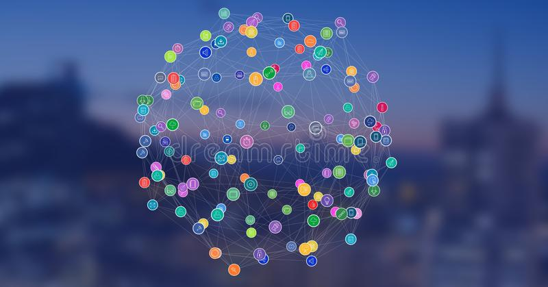 Città di notte con i connettori immagine stock