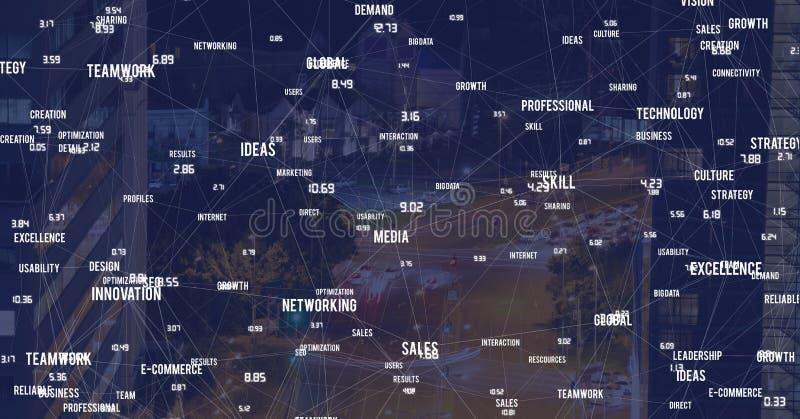 Città di notte con i connettori immagine stock libera da diritti