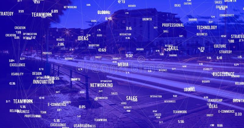 Città di notte con i connettori fotografie stock libere da diritti