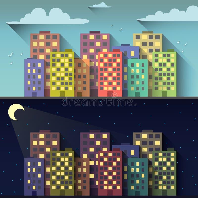 Città di notte e di giorno illustrazione di stock