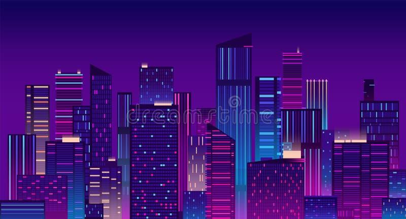 Città di notte Fondo urbano variopinto di New York Illustrazione moderna di vettore di panorama di paesaggio urbano illustrazione di stock
