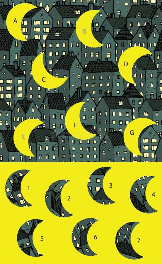 Città di notte: Pezzi della partita, gioco visivo Soluzione nello strato nascosto! illustrazione di stock