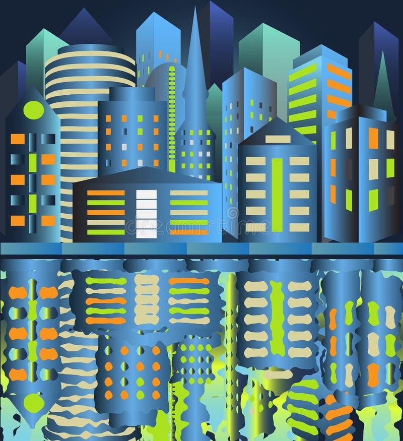 Città di notte riflessa in acqua illustrazione di stock