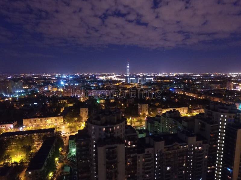 Città di notte in Rusha immagini stock libere da diritti
