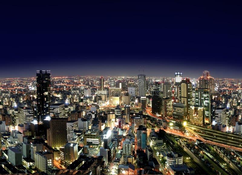 Città di Osaka entro Night fotografia stock libera da diritti