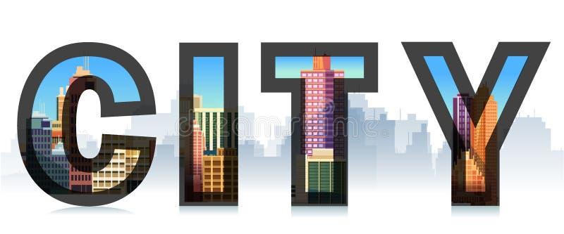 Città di parola con, siluetta della città Illustrazioni tipografiche Segno, modello, logo illustrazione di stock