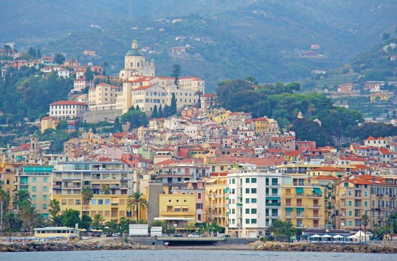 Città di San Remo, Italia, vista dal mare fotografia stock libera da diritti