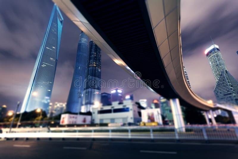 Città di Schang-Hai Notti Pudong fotografia stock libera da diritti