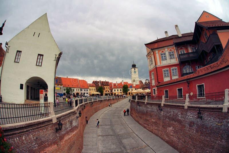 Città di Sibiu in Romania fotografia stock