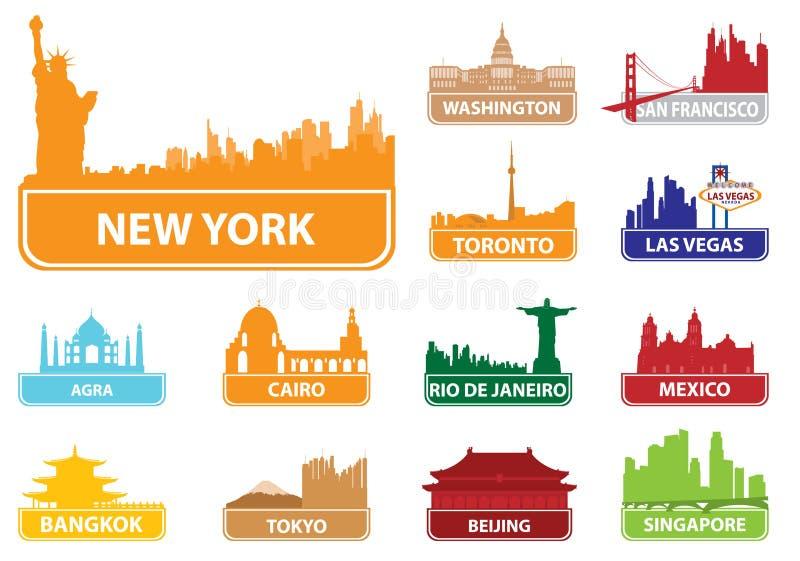 Città di simboli illustrazione vettoriale