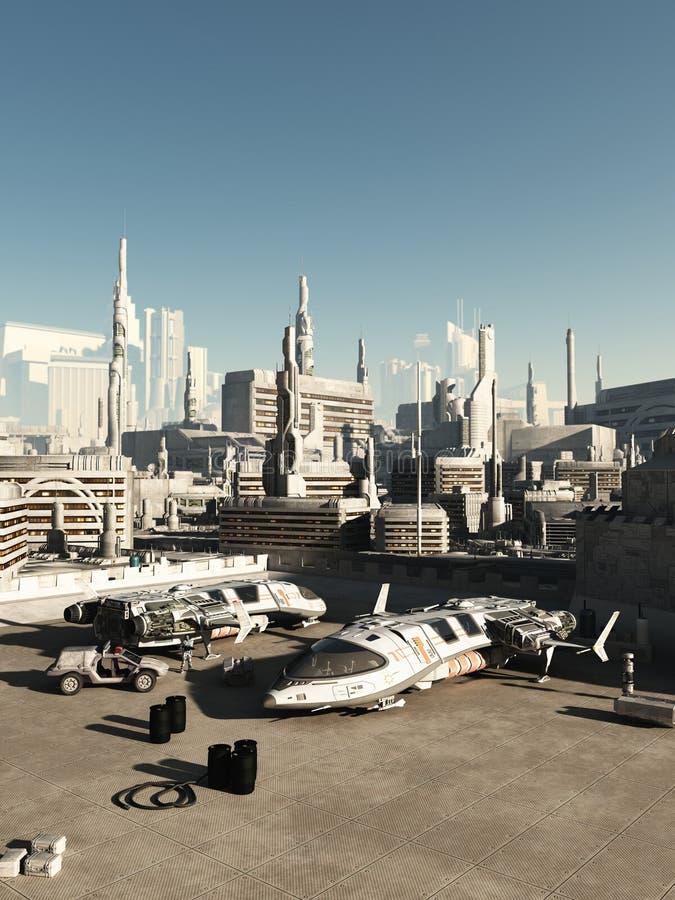 Città di spazioporto in futuro royalty illustrazione gratis