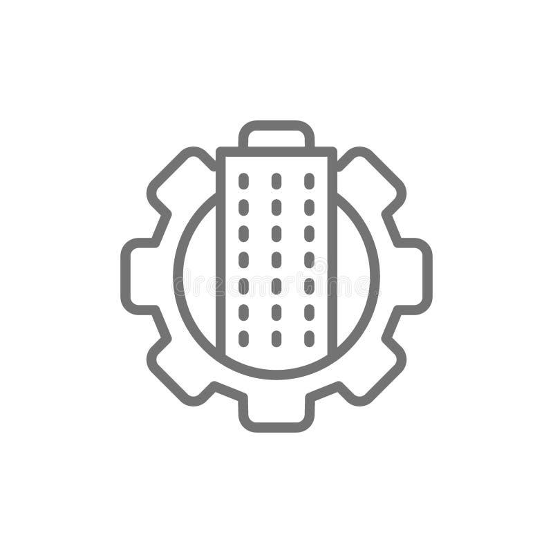Città di tecnologia, costruente con la ruota di ingranaggio, linea icona di Servizio tecnico della città royalty illustrazione gratis