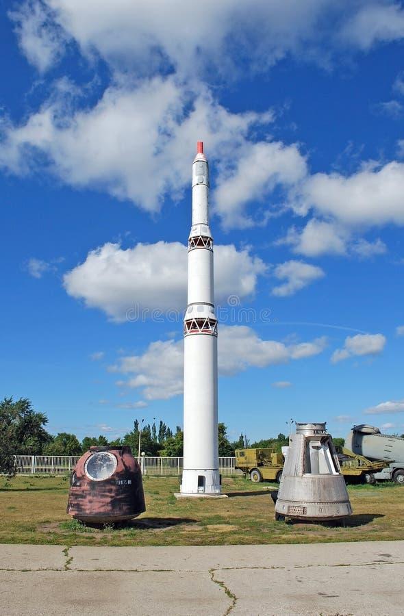 Città di Togliatti Museo tecnico di K G sakharov Missile balistico intercontinentale di RT-2P immagine stock libera da diritti