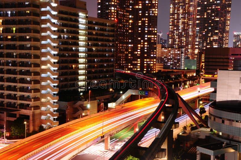 Città di Tokyo di notte fotografia stock libera da diritti