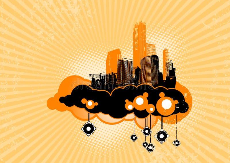 Città di volo con gli altoparlanti. illustrazione vettoriale