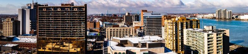 Città di Windsor, vista della città di panorama, Ontario, Canada fotografia stock libera da diritti