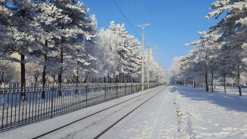 Città di Winer e strada siberiane della neve fotografia stock