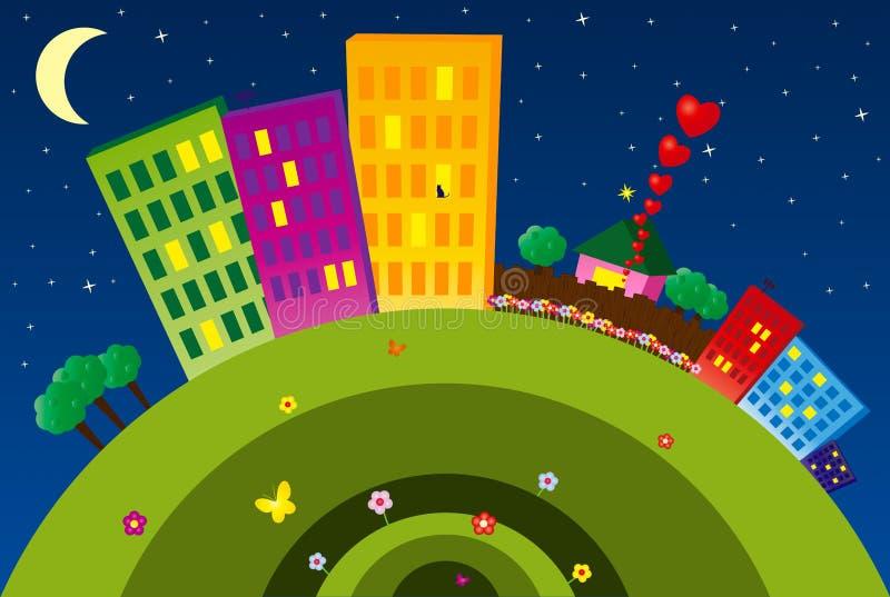 Città divertente alla notte illustrazione vettoriale