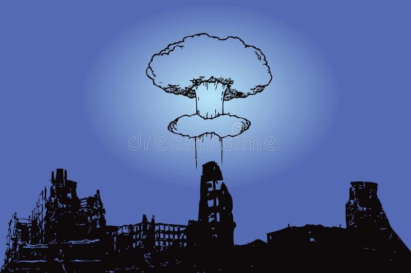 Città dopo il bombardamento royalty illustrazione gratis