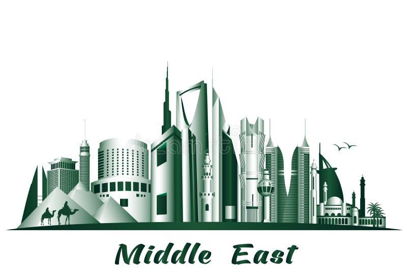 Città e costruzioni famose in Medio Oriente illustrazione vettoriale