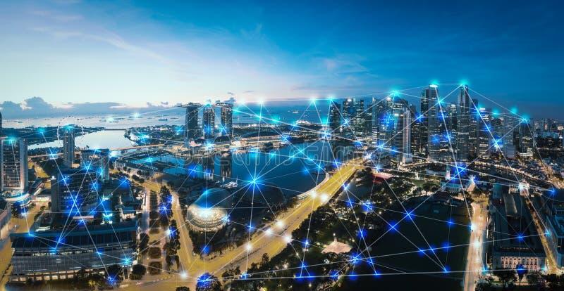 Città e Internet astuti delle cose, rete di comunicazione senza fili immagine stock libera da diritti