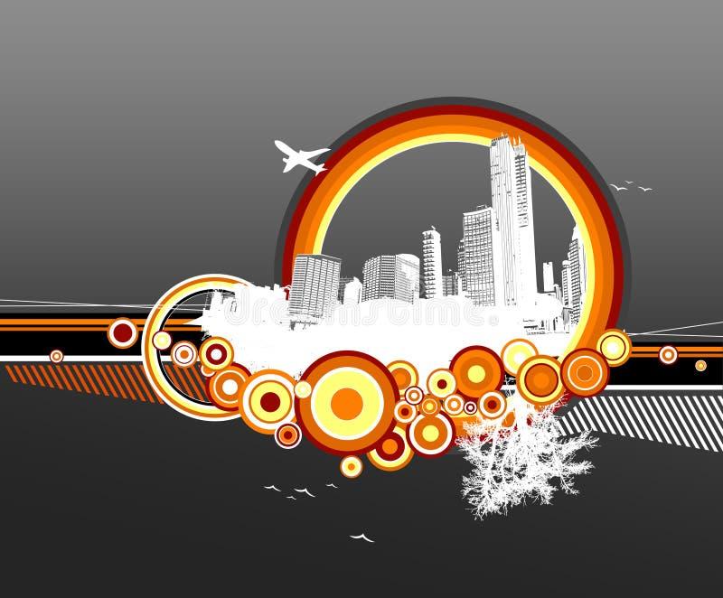 Città e natura con i cerchi royalty illustrazione gratis