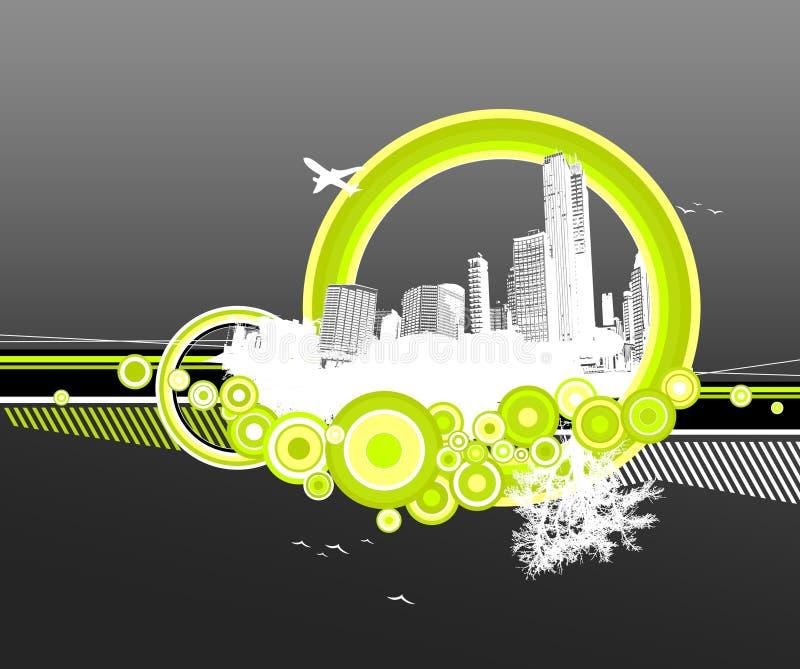 Città e natura con i cerchi. royalty illustrazione gratis