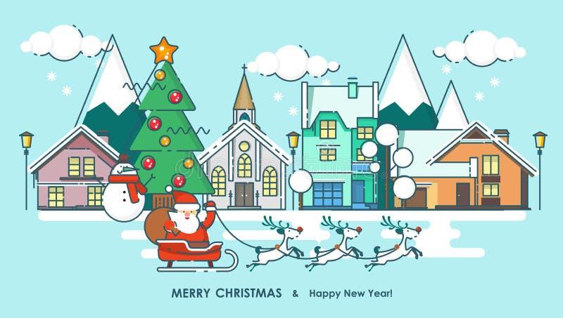 Città e Santa di inverno della cartolina d'auguri di Buon Natale Desideri di nuovo anno felice Manifesto nella linea piana stile  illustrazione vettoriale