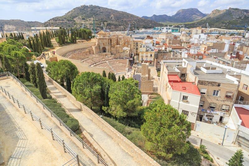 Città e vista romana del teatro, Cartagine, Spagna fotografia stock