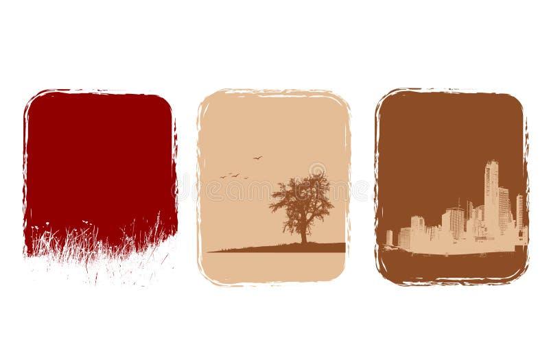 Città, erba ed albero royalty illustrazione gratis