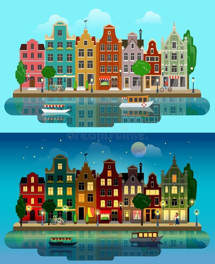 Città europea piana di vettore: giorno, notte, case, canale, via illustrazione vettoriale
