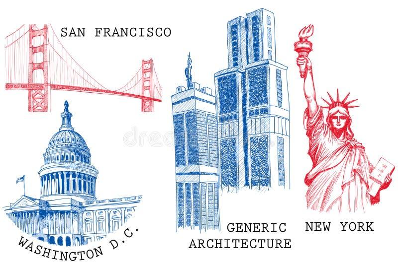 Città famose degli S.U.A. illustrazione di stock