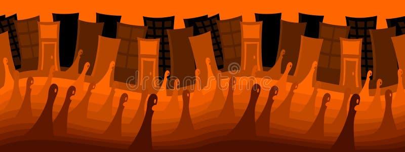 Città fantasma per Halloween (ripetibile) royalty illustrazione gratis