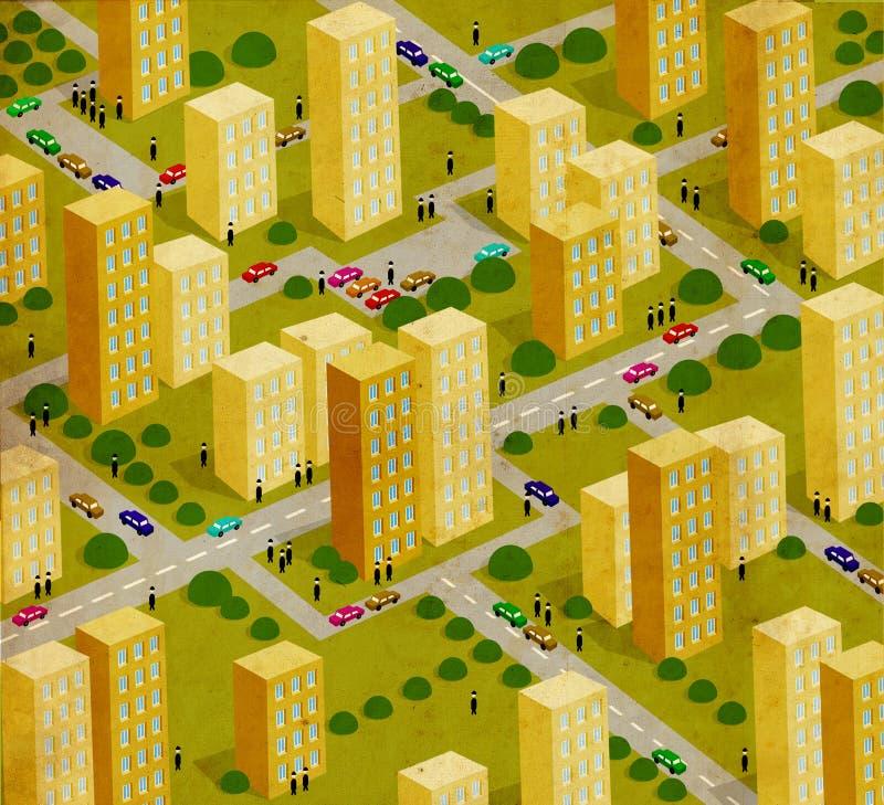 Città, fondo, estratto, disegnante illustrazione vettoriale